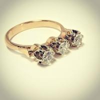 "Кольцо золотое ""Светофор"" с бриллиантами"