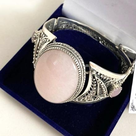 розовый кварц камень браслет