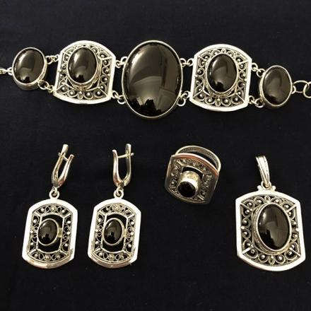 черный агат +в серебре купить