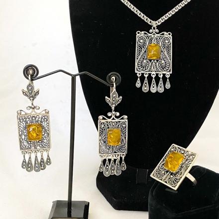 янтарь +в серебре украшения купить