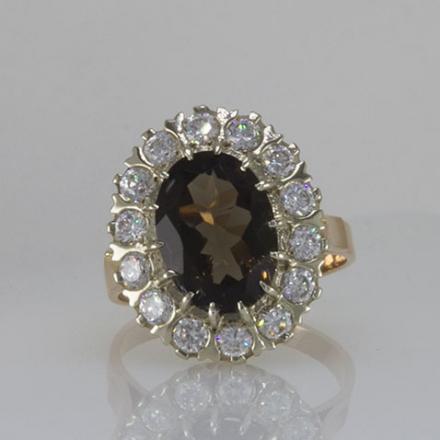 кольцо золотое с раухтопазом