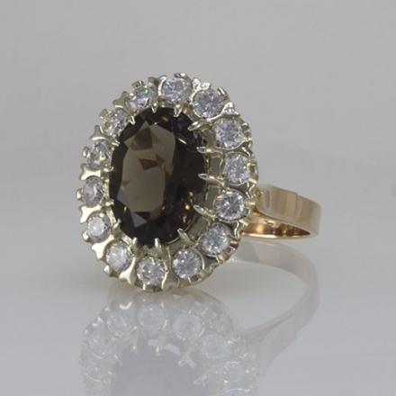 кольцо с цирконами и раухтопазом