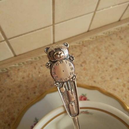 ложка серебряная  мишка