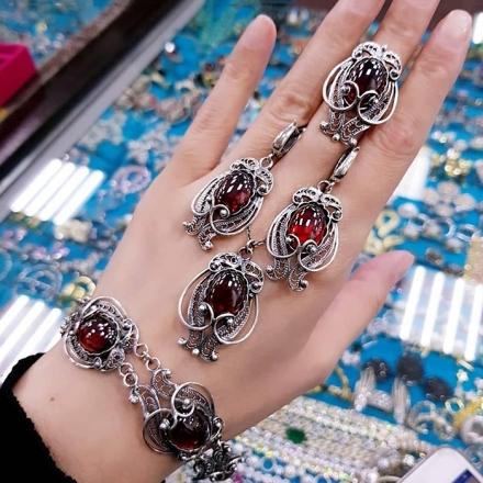 украшения +из серебра +с натуральными камнями купить