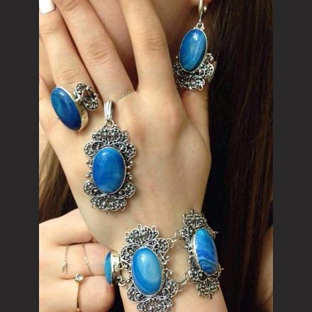 ювелирные изделия +из серебра +с натуральными камнями