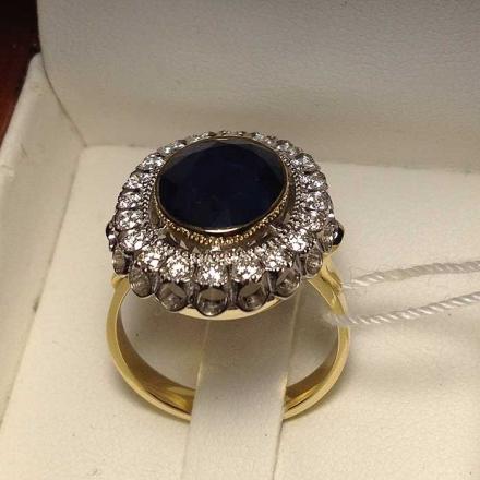 купить кольцо +с сапфиром +и бриллиантами