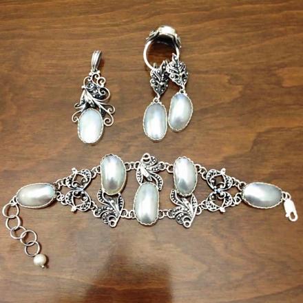 серебряные украшения агат
