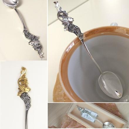 позолоченные серебряные ложки