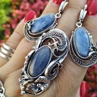 Серьги+кольцо из серебра с кианитом