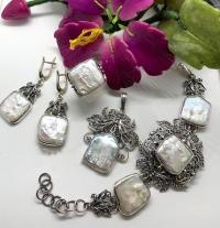 Комплект из серебра с жемчугом Барокко