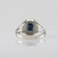 кольцо сапфир +с бриллиантами белое золото
