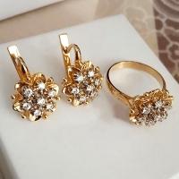 Серебряные серьги + кольцо  с позолотой