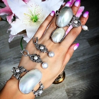 серьги кольцо жемчугом серебро