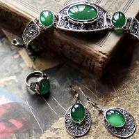 Серьги+кольцо+ браслет  с хризопразом
