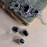 Комплект  из серебра 925 с черным агатом