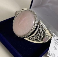 серебряные браслеты +с розовым кварцем
