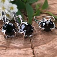 Серьги кольца серебро черный фианит