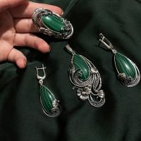 Серебряные серьги с малахитом