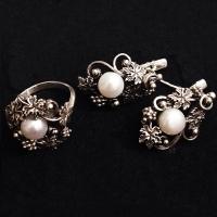 Серебряные серьги+кольцо   с жемчугом
