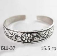 Узкий женский браслет из серебра