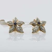 Серьги- цветы с  бриллиантами и сапфирами