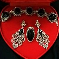 Серебряные украшения с агатом