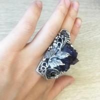 Серебряное кольцо с друзой аметиста