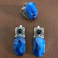 серебряный браслет +с синими камнями
