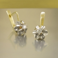"""Cерьги из золота """"Тюльпаны"""" с  бриллиантами"""