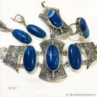 Синий агат в серебре
