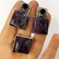 Серебряные серьги+ кольцо квадратные