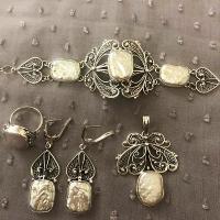 украшения +с малахитом +в серебре