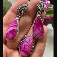 Серьги из серебра с розовым агатом