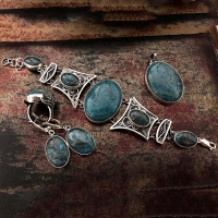 Серебро комплект с синим агатом