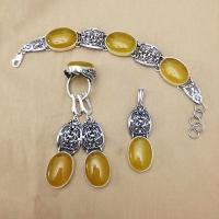 Комплект из серебра с янтарем