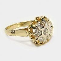 """Кольцо  из золота 585 """"Бахча"""" с фианитами"""