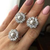 Серьги+кольцо Малинка с жемчугом и фианитами