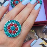 Кольцо  с кораллом натуральным в серебре