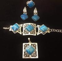 Комплект из серебра с  голубым агатом