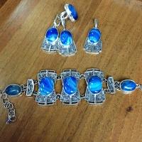 Серебро с голубым  агатом