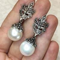 Серьги из серебра с жемчугом