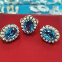 Серьги+кольцо   с фианитами и жемчугом