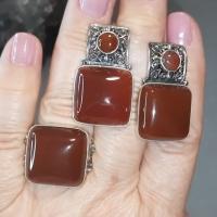 Серебряные украшения с сердоликом