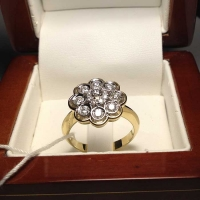 Кольцо золотое с  бриллиантами Малинка