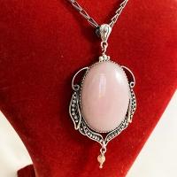 Кулон  из серебра с розовым кварцем
