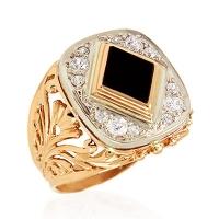 Мужское кольцо из золота  с фианитами и агатом