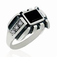 Кольцо серебряное с агатом и  фианитом