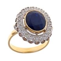 кольцо +с сапфиром +и бриллиантами