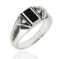 Мужское кольцо с фианитом и агатом