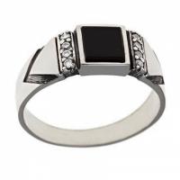 Мужское кольцо серебряное  с фианитом и агатом